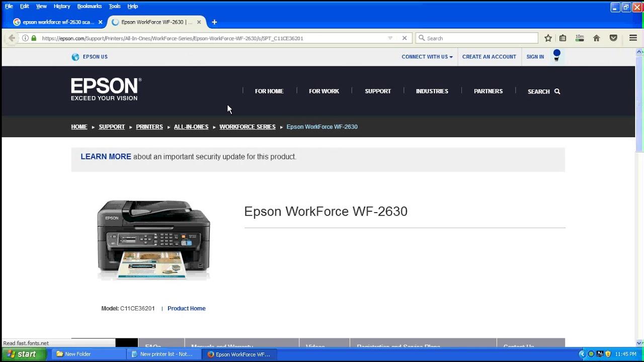 download printer driver epson wf-2630