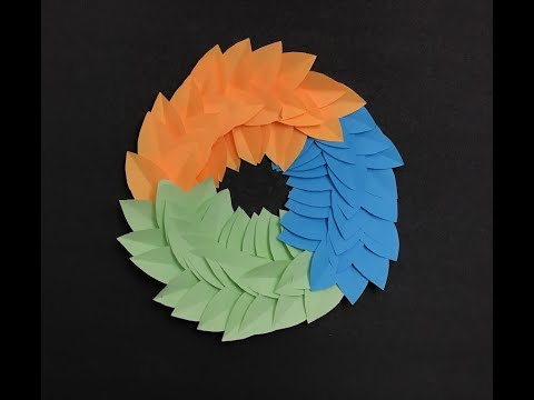Paper Leaf Wall Hanging Wreath -DIY Easy Hanging Paper Craft