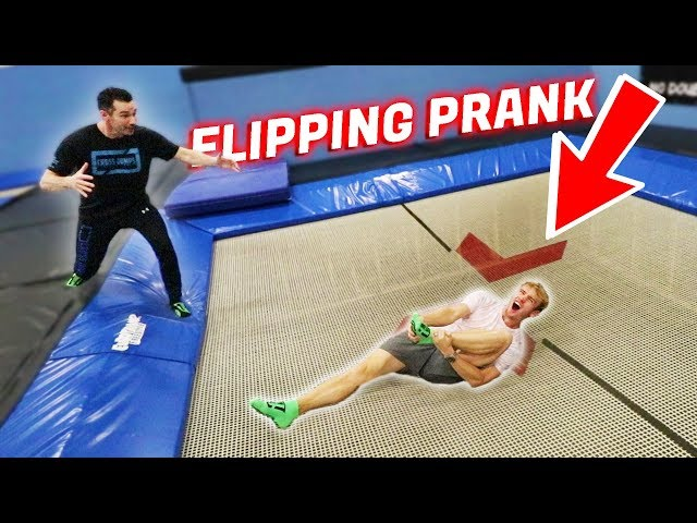 FLIPPING FAIL PRANK ON TRAMPOLINE PARK OWNER !