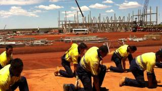 new zealand maori haka at karara mine site in western australia.MOV
