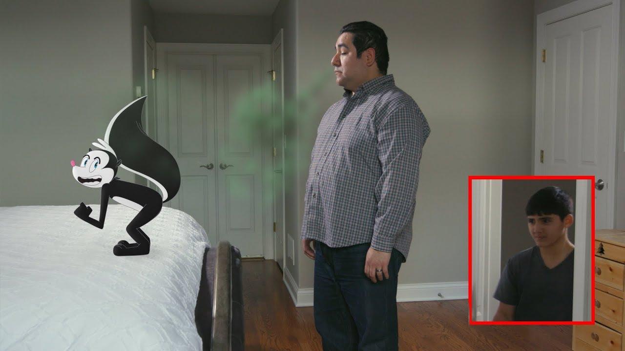 awkward-son-walks-in-on-his-dad-getting-sprayed-by-a-cartoon-skunk