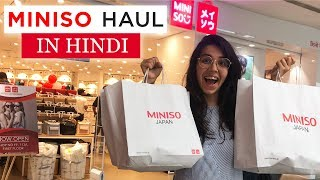 Miniso Haul In HINDI & Stationery GIVEAWAY! Cute & Affordable Everyday Use Items | #HeliHauls