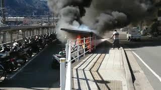 「白昼の大炎上」JR中央東線上野原駅駐輪場火災スクープ映像