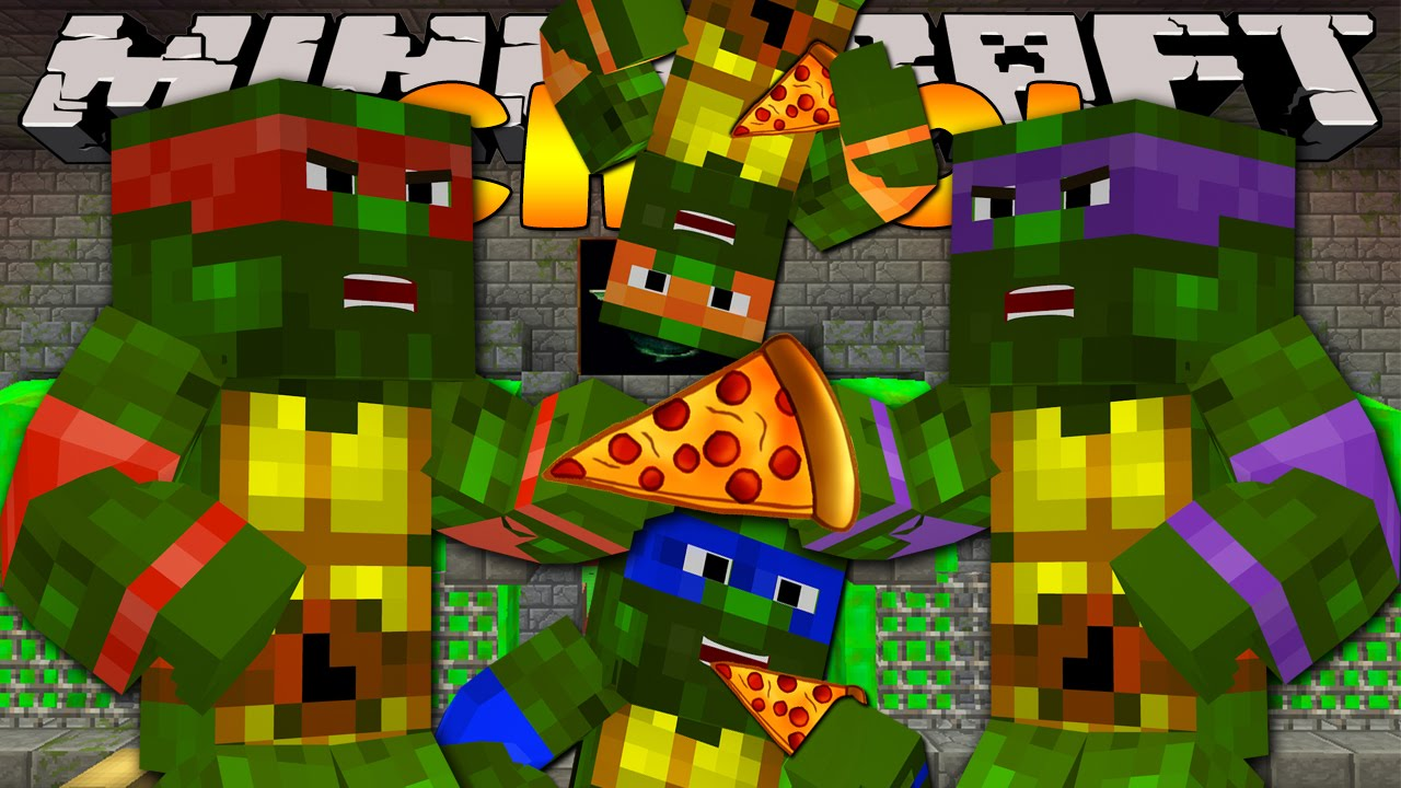 Minecraft School TEENAGE MUTANT NINJA TURTLES PIZZA YouTube