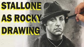 Sylvester Stallone as Rocky drawn in charcoal
