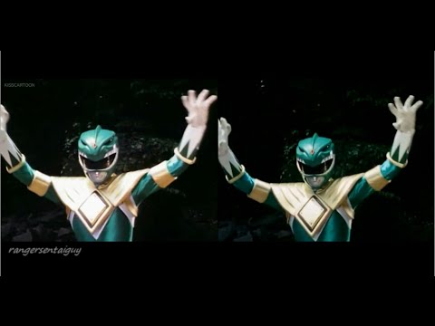 Mighty Morphin Green Ranger First Appearance Split Screen (PR and Sentai version)