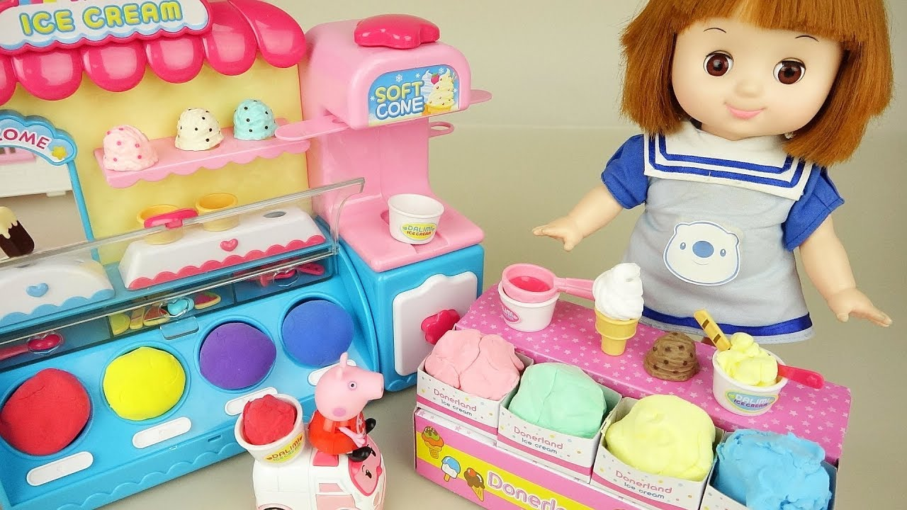 Baby doll play doh ice cream shop color play Doli house