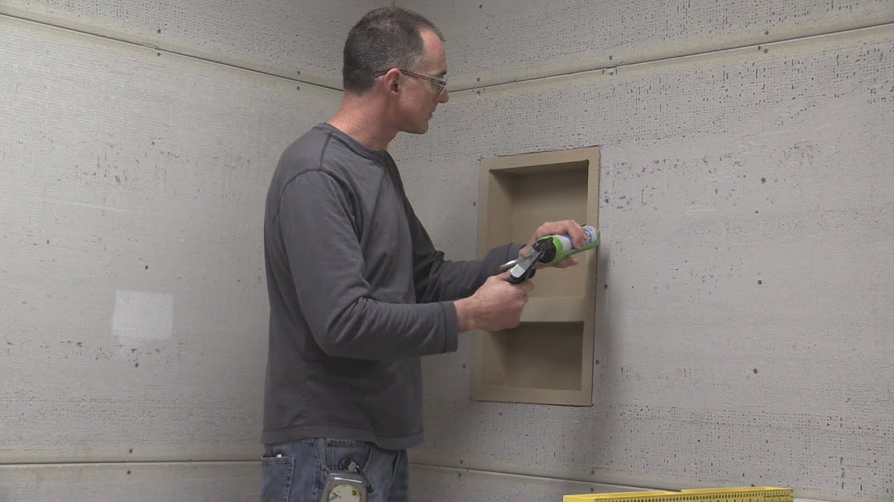 Installing a Noble Niche in a Tile Shower - YouTube