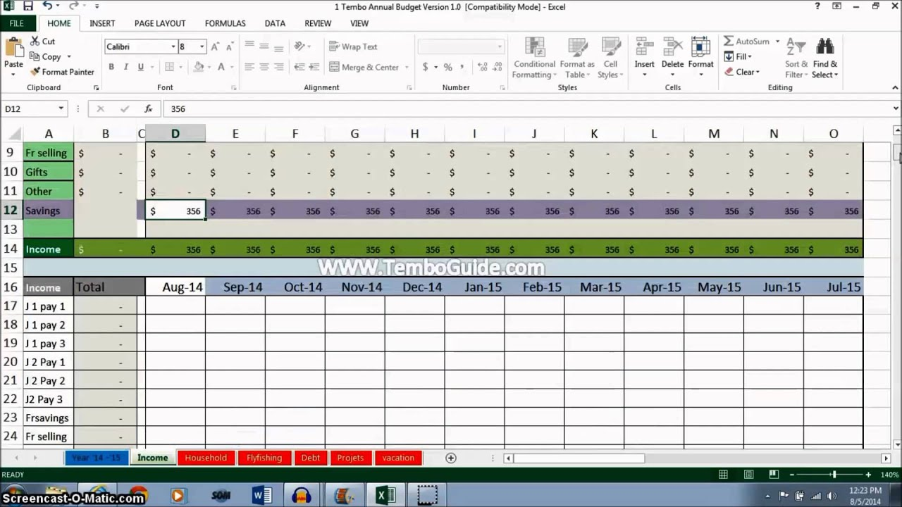 annual budget tutorial  calculate your annual income part