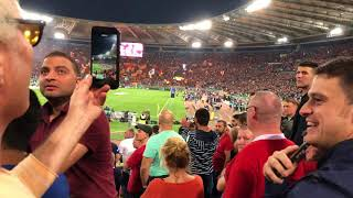 Roma vs Liverpool Away End Liverpool fans Atmosphere! Roma Roma Roma