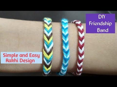 DIY Friendship Bracelet / Rakhi Design (Fishtail Braid)| Make Easy Rakhi at Home - Bracelet Tutorial