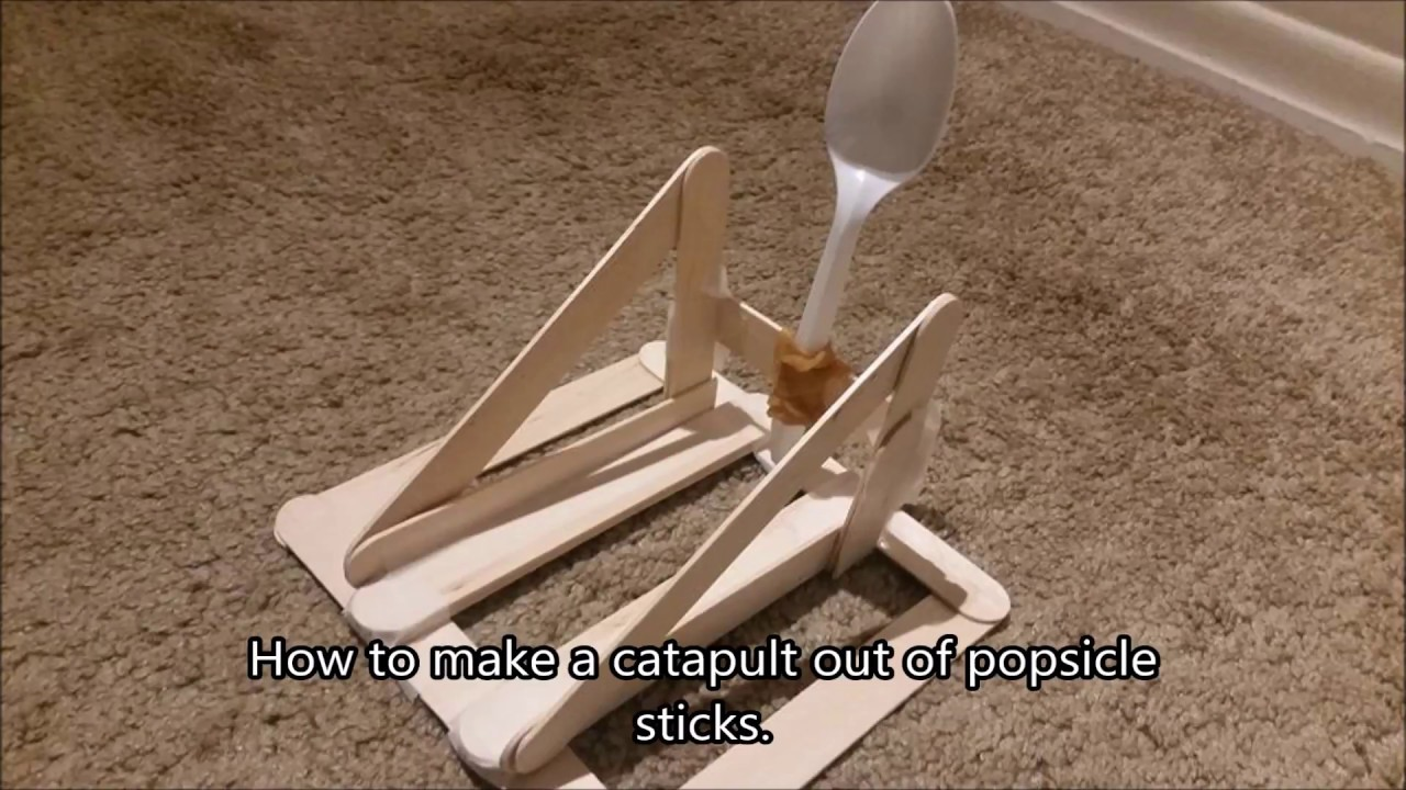 Popsicle Stick Catapult - YouTube  How To Build A Catapult With Popsicle Sticks