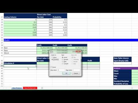 Basic Excel Business Analytics #66: Monte Carlo Simulation for New Product, 3 Uncertain Variables
