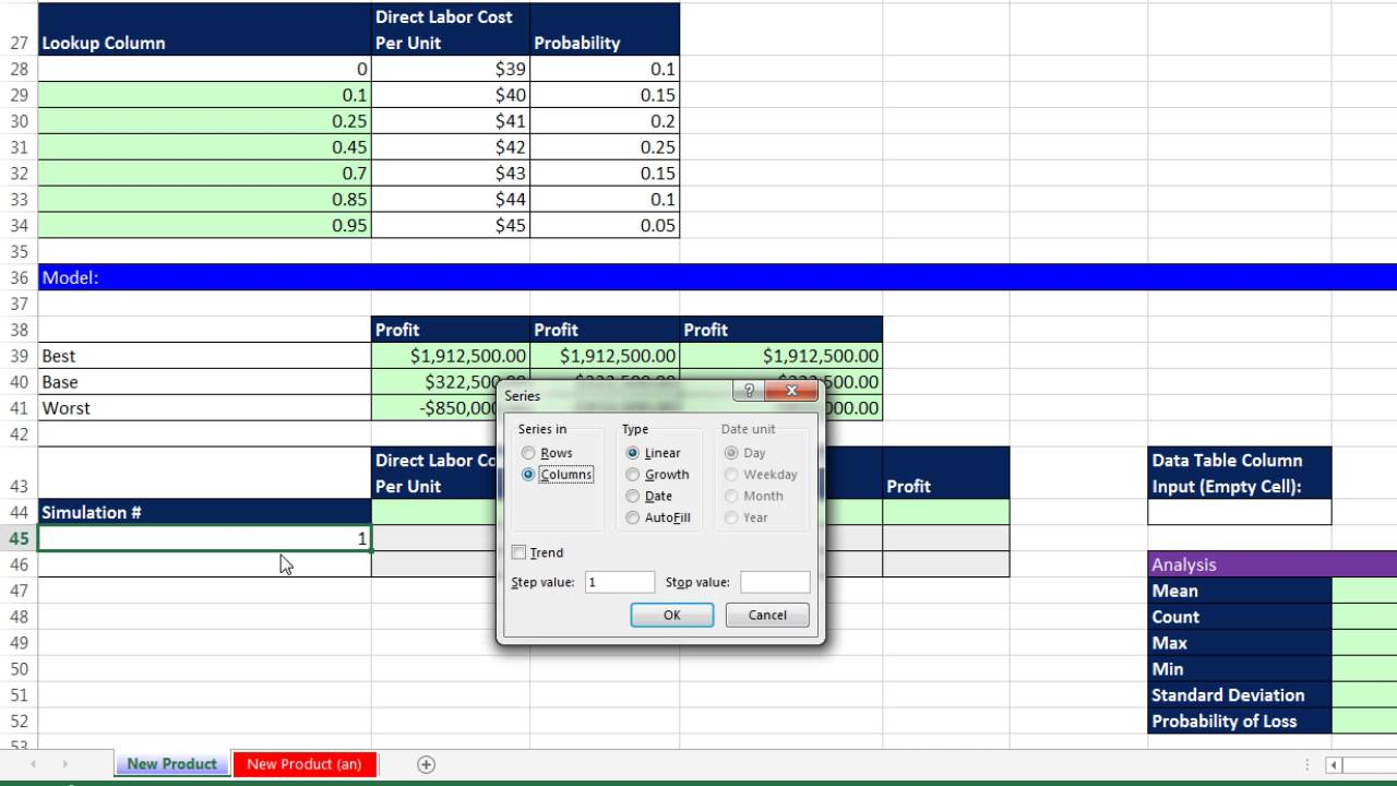 basic excel business analytics 66 monte carlo simulation for new
