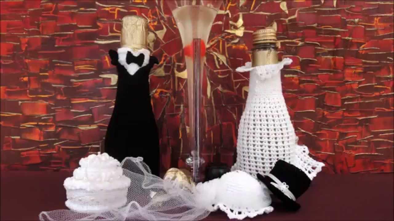Sektflaschen Braut und Brutigam HKELN CROCHET  YouTube