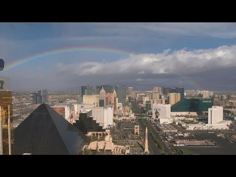 Rainbows and rain in the Las Vegas valley