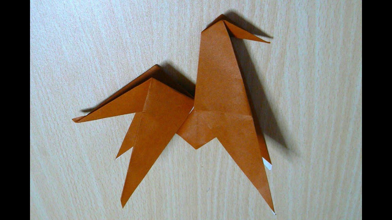 схема оригами конь