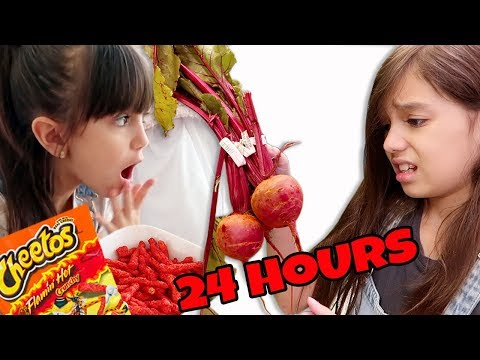 We only ate RED food for 24 HOURS challenge!!!