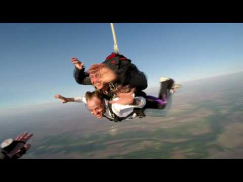 Coach Cantrall makes a tandem skydive