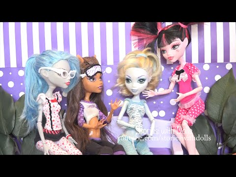 MH Pajama Party ! Toys and Dolls Fun Playing with Monster High Characters