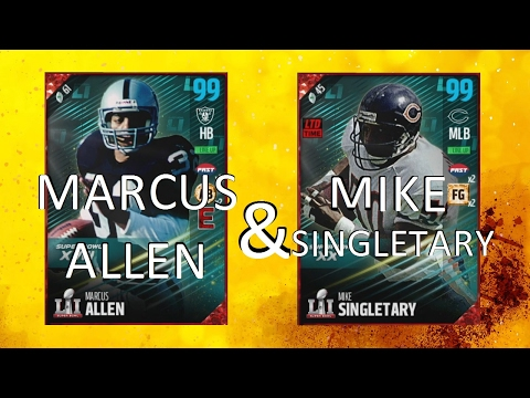 WE GOT 99 MARCUS ALLEN and 99 MIKE SINGLETARY!!! MADDEN 17 ULTIMATE TEAM H2H GAMEPLAY