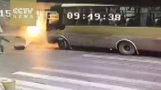 Footage: Bus ignited by a burning gas cylinder