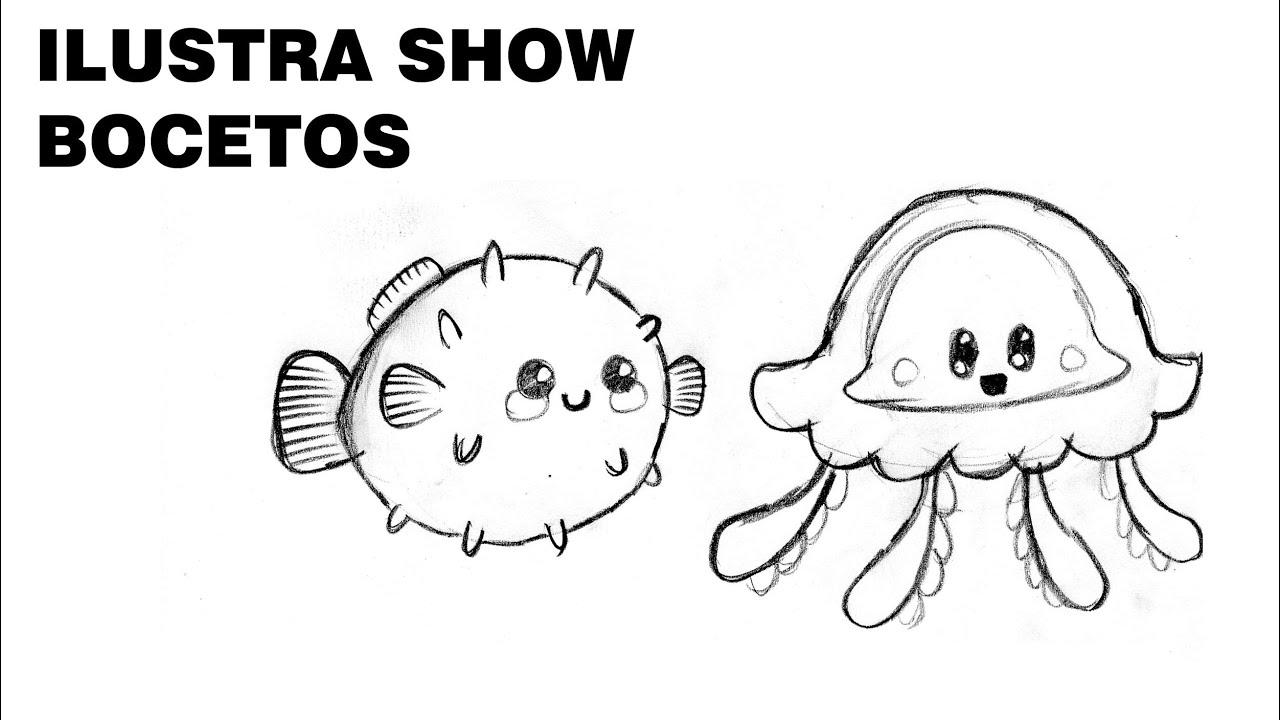 BOCETOS Como dibujar MEDUSA KAWAII Tutorial ILUSTRA SHOW