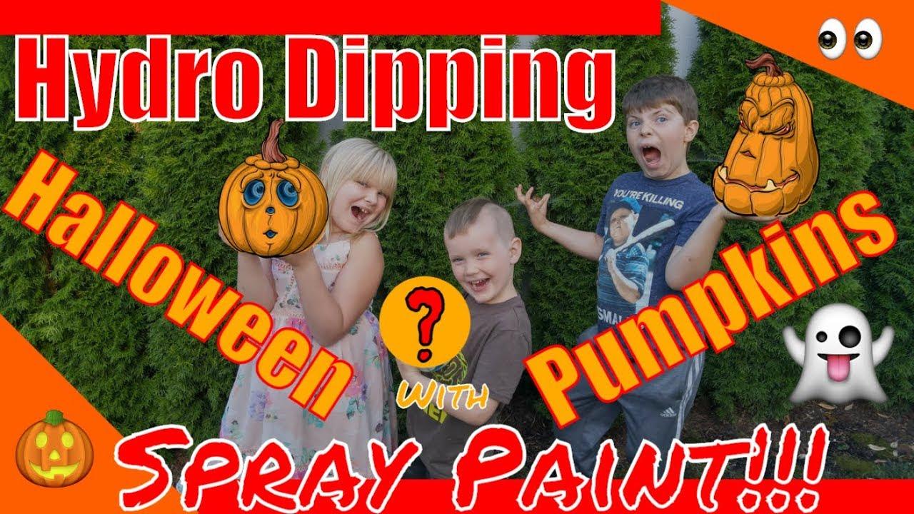 72316b46b535aa Hydro dipping Halloween Pumpkin WaterMarble Swirl paint Art W Kids! How to  DIY Craft w spray paint!