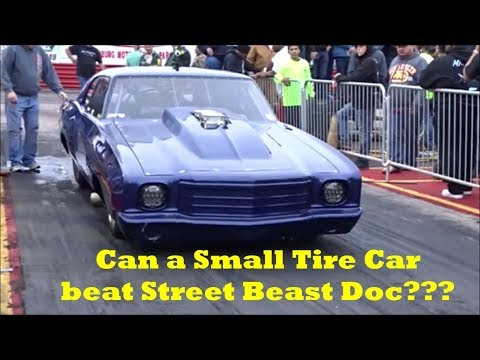 Can a small tire car beat Doc Street Beast at Edinburg street outlaws no prep??