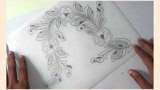 Floral design drawing || how to draw Saree designs