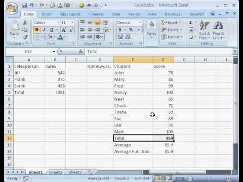 Microsoft excel for beginners 02 sum and average function youtube microsoft excel for beginners 02 sum and average function freerunsca Images