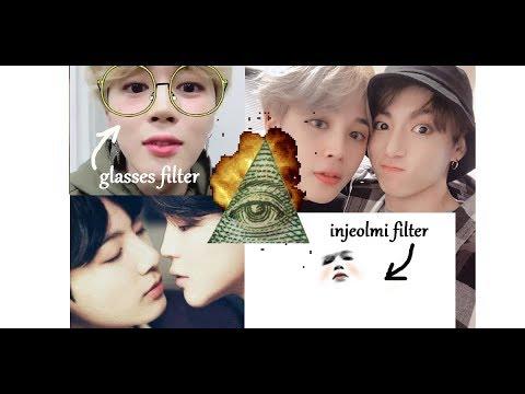 Jikook Twitter Hints - injeolmi filter, glasses selcas, peace signs,