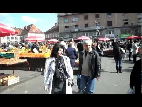 Zagreb - Dolac market and singing in the street