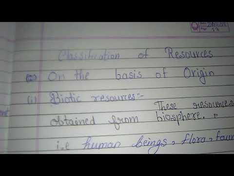 Classification of resources basis of origin
