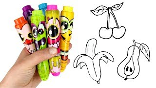 Drawing Fruits with Scentos Markers & Surprise Toys Squishy Fruit LOL Surprise Pets Kinder Surprise