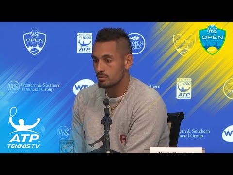 Kyrgios chats to the media after reaching the Cincinnati final