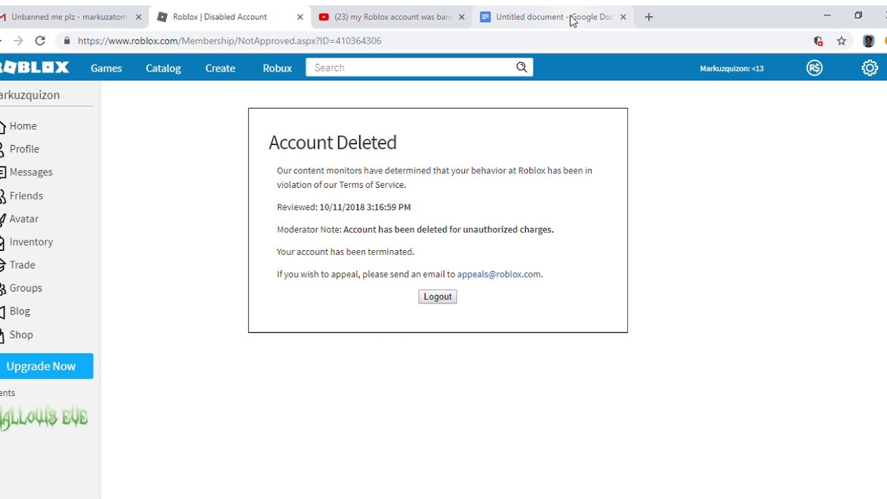 My Roblox Account Was Deleted For Unauthorized Charges Youtube