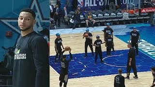 ben-simmons-shockingly-makes-3-pointers-2019-nba-all-star-rising-stars-practice