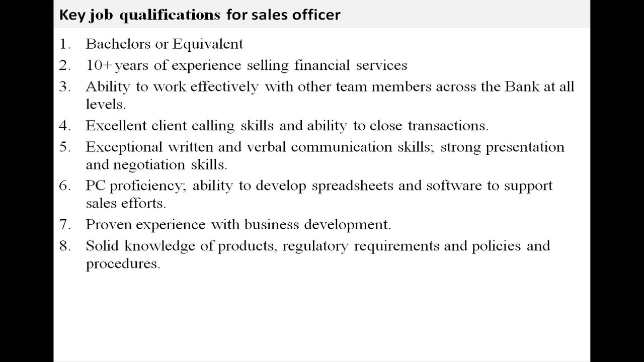 Sales Officer Job Description Youtube