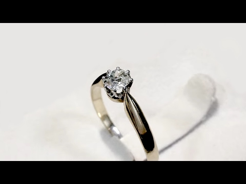 0.45 ct Diamond and 14 ct Yellow Gold Solitaire Ring - Antique Circa 1910 A5056