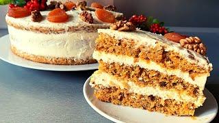 Морковный Торт Крем Пломбир На Сметане Carrot Cake Кулинарим с Викторией