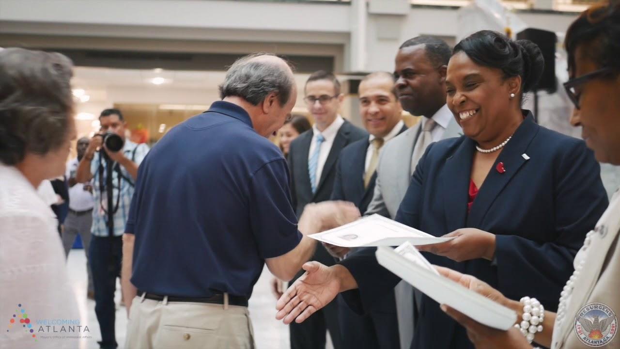 Image result for atlanta city hall naturalization ceremony kasim reed