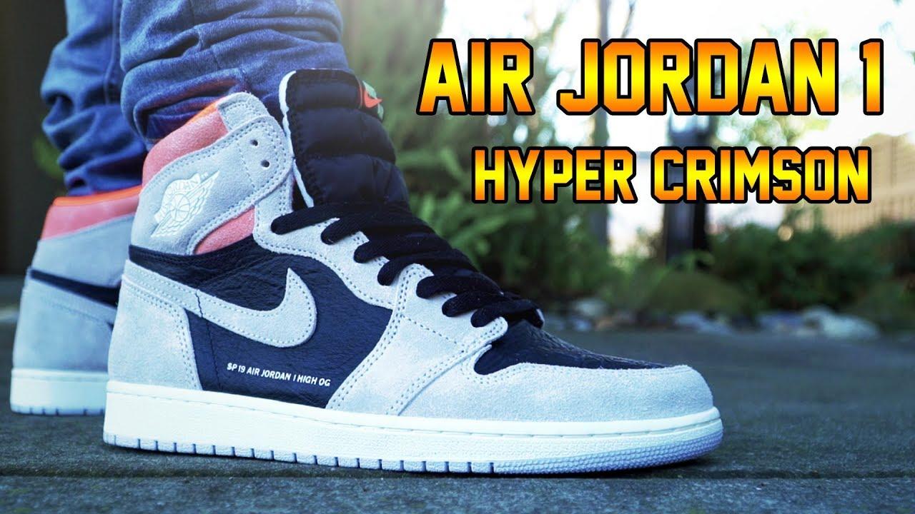 e36d10df3b72e0 AIR JORDAN 1  HYPER CRIMSON  REVIEW + ON FEET!!! - YouTube