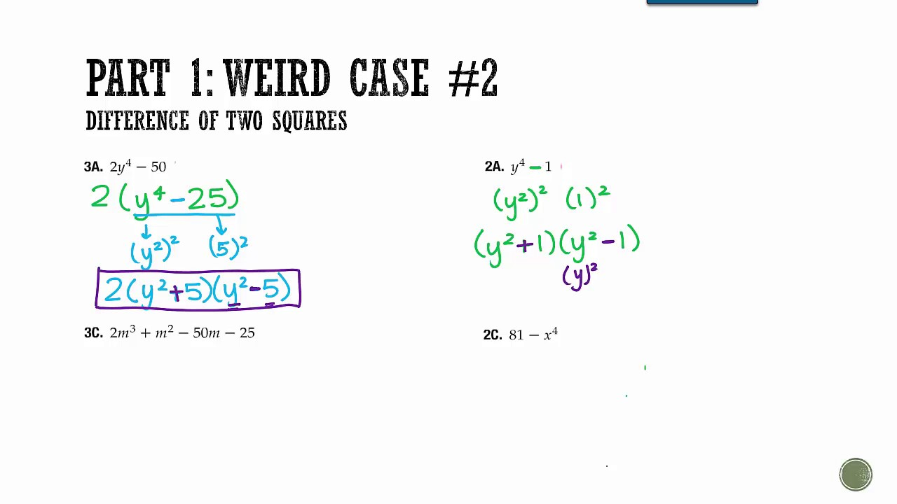 Worksheets Factoring Special Cases Worksheet worksheets factoring special cases worksheet atidentity com free algebra 1 sections 8 9 youtube cases