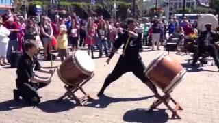 The Crespi Celt Taiko Ensemble performs at Pier 39 in San Francisco...