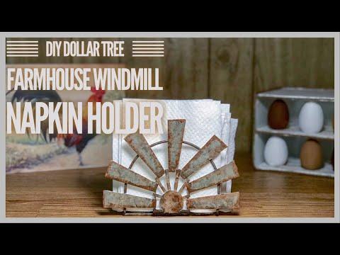 DIY Dollar Tree Farmhouse Windmill Napkin Holder - Budget Friendly Rustic Kitchen Decor DIY
