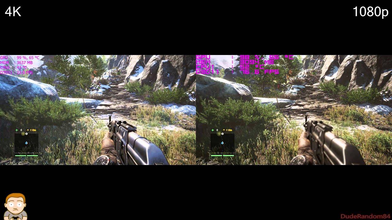 far cry 4 1080p vs 4k gtx 980 fps comparison - youtube