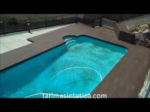Instalaci n de tarima sint tica en piscina youtube - Tarima para piscinas ...