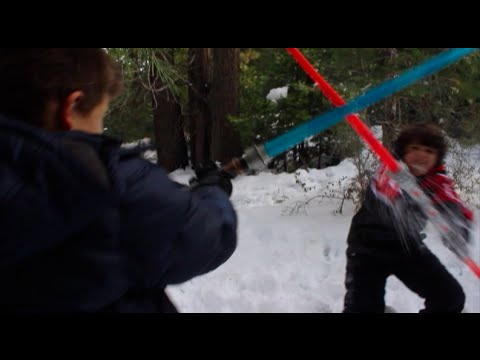 Little Kids Play Star Wars: Jedi Vs. Sith Lord Battle on Planet Hoth