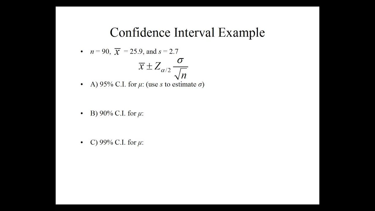 Ch 6.1 Confidence Interval for the mean with a large sample size ...